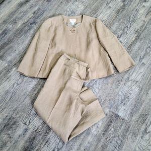 2 piece Talbots irish Linen crop Petites Pantsuit